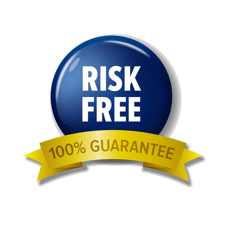 Navy blue circle label Risk free - 100% Guarantee. Shiny round button for money back. Colorful tag for web site or product pack design. Isolated on white background.
