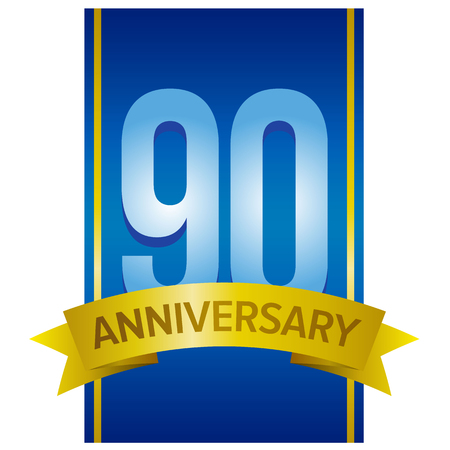 90th: Vector label for 90th anniversary with large digits on blue background. Decorative elements for celebration party. Logo template for ninety years. Illustration