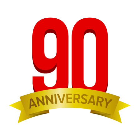 Big red number 90 with gold tape and text anniversary below. Vector tag isolated on white background. Celebration label for ninety years. Illustration