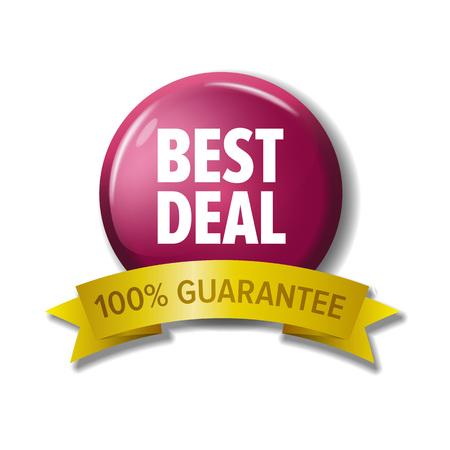 Botón redondo con la etiqueta 'Mejor oferta - 100% de garantía'. Elemento de diseño vectorial para tiendas web. Letras blancas en círculo carmesí y cinta amarilla. Vectores