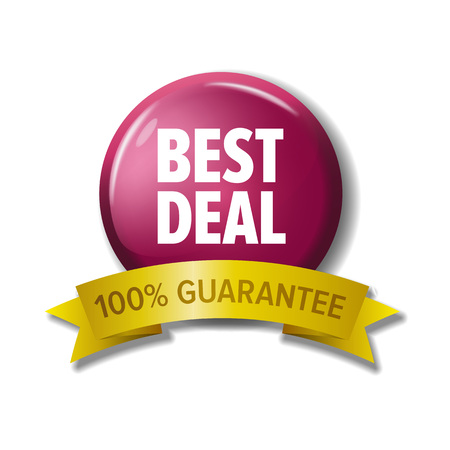 Round button with label Best deal - 100% guarantee. Vector design element for web stores. White letters on crimson circle and yellow tape.