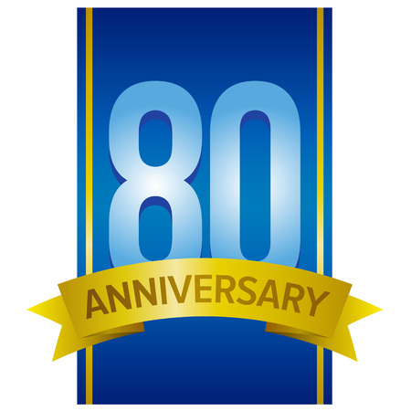 80th: Vector label for 80th anniversary with large digits on blue background with golden stripes. Decorative design elements for eighty years celebration. Illustration