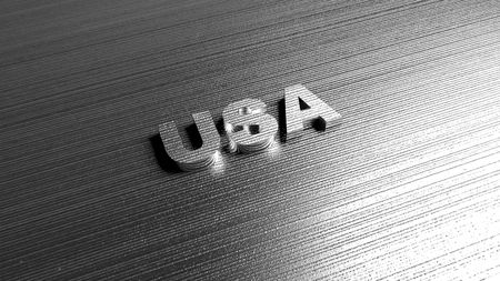 sheet metal: Metal title USA on steel background. Lettering for travel agency, production company, geography templates. 3D Rendering.