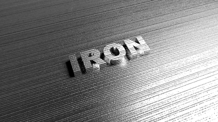 sheet metal: Word Iron on steel background. Lettering for production company, chemical industry defense or safety services. 3D Rendering.