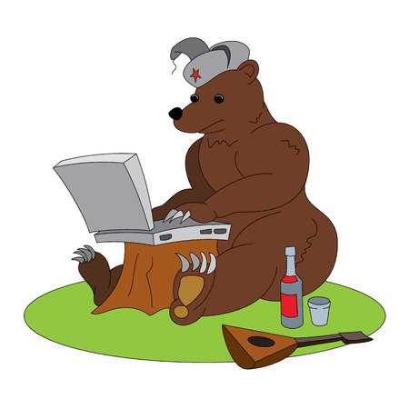 Russian hacker humorous illustration - brown bear sitting with laptop. Animal working with notebook, with traditional elements - red star, vodka and balalaika. Funny vector clip art. Illustration