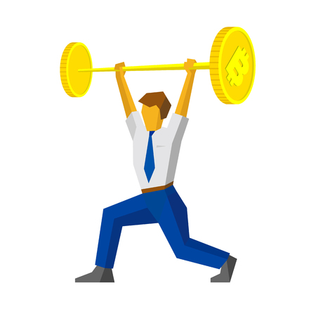 Businessman raises a bar with bitcoin sign like weightlifter. Isolated on white background. Business concept - money and profit. Vector image clip art.