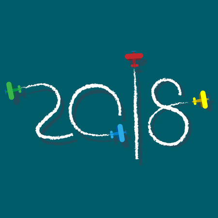New Year 2018 concept - planes left traces in the form of numbers. Airplane write digits in the sky. Flat vector clip art. Celebration logo.