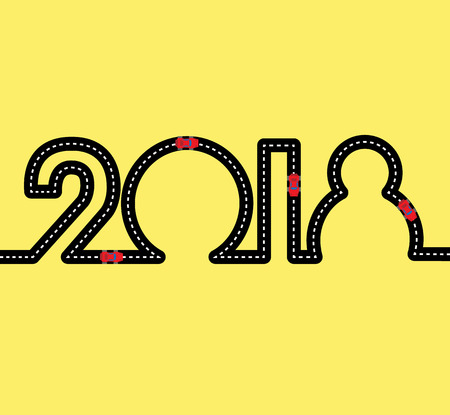 Happy New Year Concept - road in the shape of figures 2018. With red toy sport cars on highway. Simple vector clip art for car service or shop. Sign for greeting card or poster.