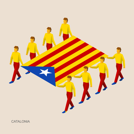 Eight people hold big flag of Catalonia (autonomous community of Spain). 3D isometric standard bearers. French sport team. Simple vector illustration for infographic.