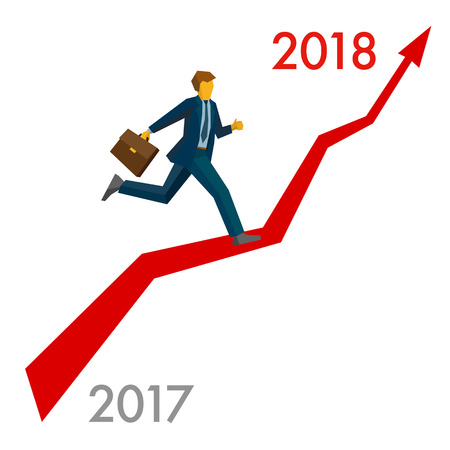 calendar design: Businessman running grow up graph from 2017 to 2018 point. Career success - New year concept for greeting card, poster or annual report. Flat vector clip art, isolated on white background.