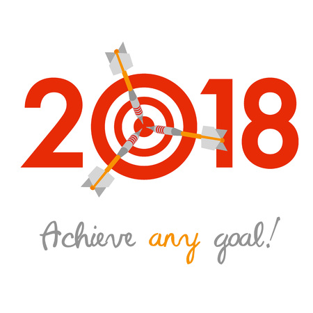 calendar design: New Year 2018 business concept. Target with three darts instead of zero - symbol of success, achievements. Slogan Achieve any goal! at the bottom.