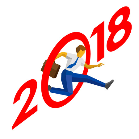 calendar design: Businessman jump throw zero in number 2018. Man crosses the line, career success. New year concept for greeting card, poster or annual report. Isometric vector clip art, isolated on white background. Illustration