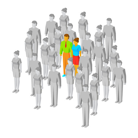 Couple in the crowd. One man and women drawn in color among gray people. Two people, who meet each other. Love concept. 3d isometric vector illustration, isolated on white background.