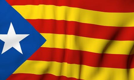 Bandera de Cataluña ondeando en el viento. Representación 3d Norma catalana (L'Estelada Blava). Fondo para carteles políticos o pancartas. Superficie de la tela con rayas rojas y amarillas, estrella blanca en azul.