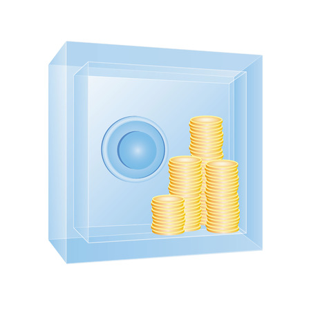 Transparent safe with gold coins in it. Ice or glass strongbox with visible content. Business concept - clear bank operations, obvious procedure. 3d vector illustration. Illustration