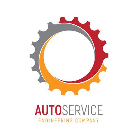 ギアロゴテンプレート。重工業、自動車部品店、ワークショップや修理サービスのためのロゴタイプ。エンジニアリング会社のコンセプトアイコン