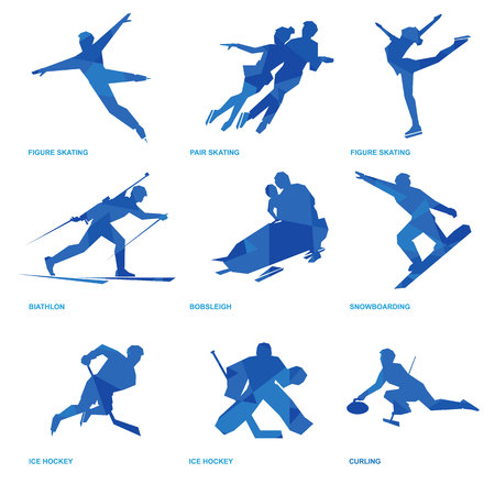 Winter sports icon set. Nine silhouettes of athletes with deep blue pattern: pair and single skating, bobsleigh, ski, ice hockey, snowboard, curling, biathlon Illustration