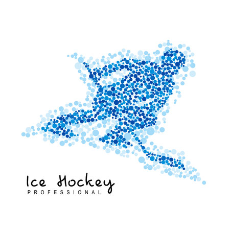 Winter sports - ice hockey. Player with hockey-stick rides fast on skates. Athlete silhouette created from dots isolated on white background. Logo template.