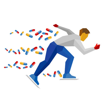 Athlete in blue and red running on ice skates, lot of pills flying behind. Skater isolated on white background. Flat vector sign. Medicine in winter sport, doping theme.