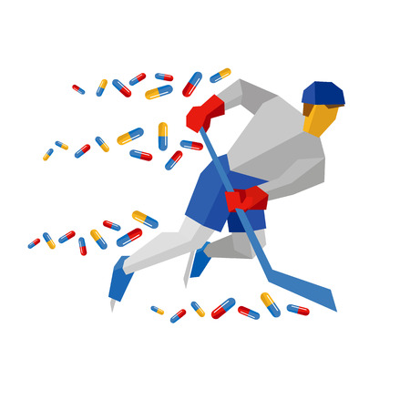 Hockey player in blue and red running on ice skates, lot of pills flying behind. Athlete isolated on white background. Flat vector sign. Medicine in winter sport, doping theme.