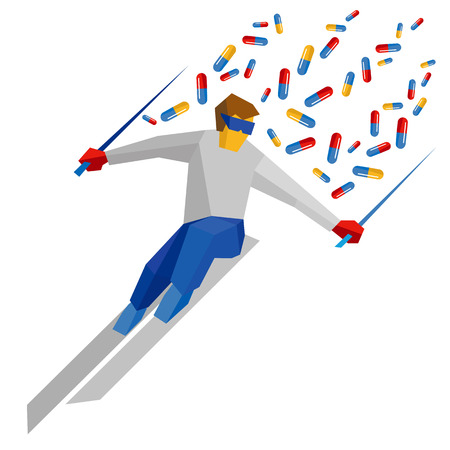 Athlete in blue and red running on ski, lot of pills flying behind. Slalom skier isolated on white background. Flat vector sign. Medicine in winter sport, doping theme.