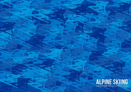 アルペンスキーベクトルの背景 - 青いスキーヤーのシルエットの多くは、高速移動します。 A4サイズのスポーツポスターテンプレート。