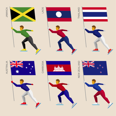 Set of simple flat athletes skating with flags of Asian countries. Standard bearers of Cambodia, Australia, New Zealand, Laos, Thailand, Jamaica. Winter sport competition icon set.