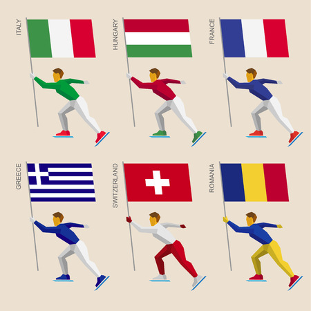 Set of simple flat athletes skating with flags of European countries. Standard bearers of France, Romania, Hungary, Italy, Switzerland, Greece. Winter sport competition icon set. Иллюстрация