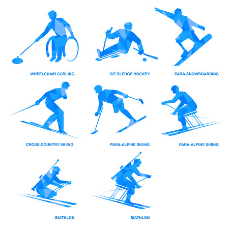 Winter sports blue icon set.