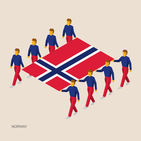 Eight people hold big flag of Norway. 3D isometric standard bearers. Norwegian sport team. Simple vector illustration for infographic.