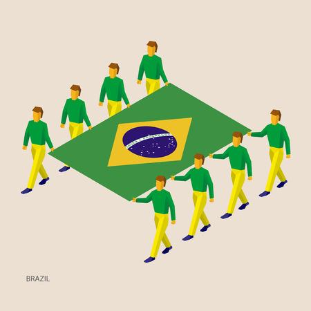 Eight people hold big flag of Brazil. 3D isometric standard bearers. Brazilian sport team.  イラスト・ベクター素材