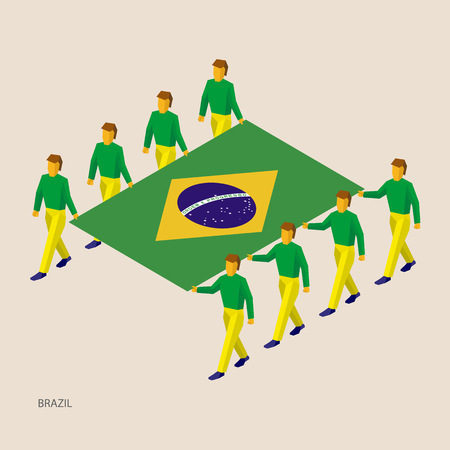 Eight people hold big flag of Brazil. 3D isometric standard bearers. Brazilian sport team. Vettoriali