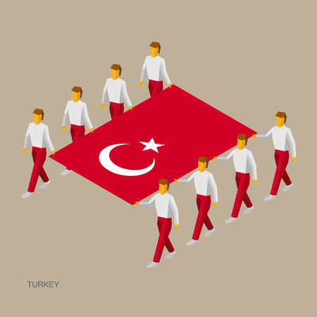 Eight people hold big flag of Turkey. 3D isometric standard bearers. Turkish sport team.