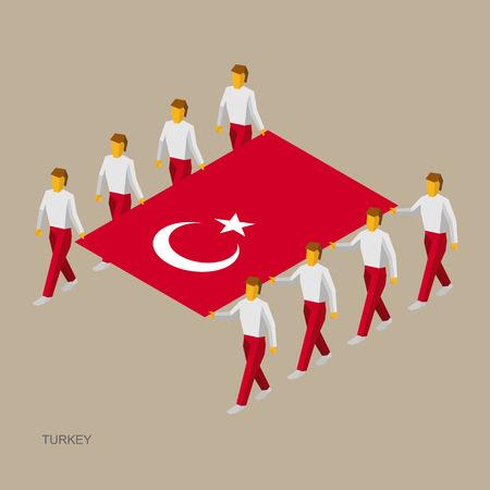 Eight people hold big flag of Turkey. 3D isometric standard bearers. Turkish sport team.