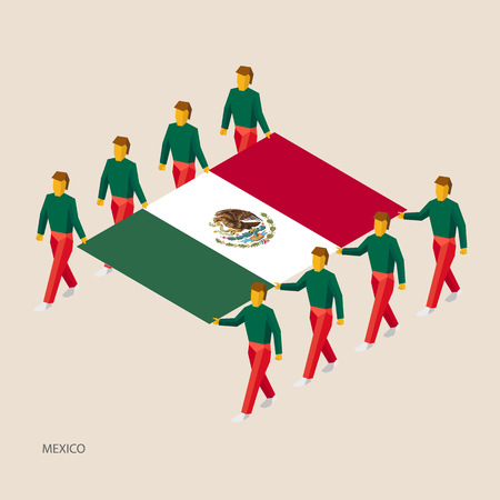 Eight people hold big flag of Mexico. 3D isometric standard bearers. Mexican sport team. Иллюстрация