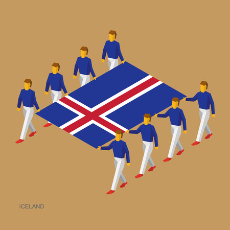 Eight people hold big flag of Iceland. 3D isometric standard bearers. Icelandic sport team. Simple vector illustration for infographic. Stock Illustratie