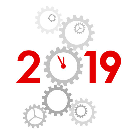 New Year 2019 concept - digits with mechanism. Big gear instead zero. Complex machinery looks like clock. Sign for winter holiday card or poster. Flat style vector clip art on white background.