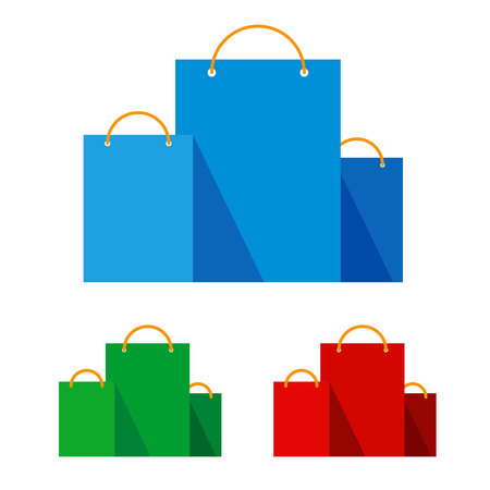 Group of bright flat shopping bags. Red, green and blue paper pockets icons. Signs for online shop or store. Isolated on white background, with place for text.