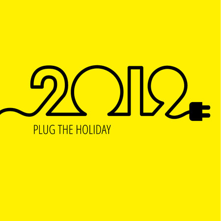 Electric cable in the form of numbers 2019 with plug at the end. New year concept for business logo, card or poster. Place for your slogan or text at the bottom.