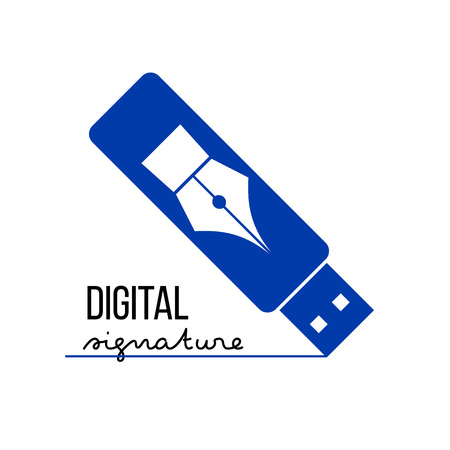 Blue USB flash silhouette with pen icon on it. Digital (electronic) signature concept. Vector logo template. 向量圖像