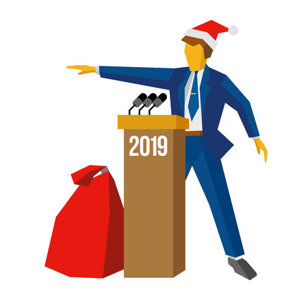 New Year 2018 concept - speaker at podium in Santa hat. Man standing at rostrum, big gift bag near. Annual press conference or presentation. Flat vector illustration, isolated on white background