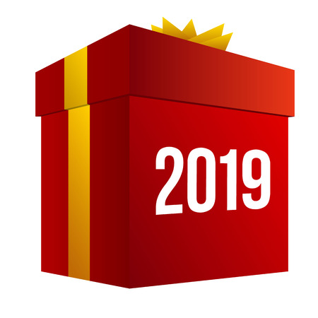 New year shopping. Big red present box with numbers 2018. Isolated on white background. Holiday gifts concept. Vector clip art with gradients, celebration sign for online shops.