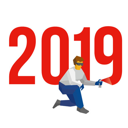 Man with sprayer writes number 2019. Painter draw a holiday graffiti. New year concept for card or poster. Flat style vector clip art on white background. Celebration logo