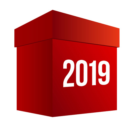 New year shopping. Big red present box with numbers 2019. Isolated on white background. Holiday gifts concept. Simple vector clip art, celebration logo for online shops.