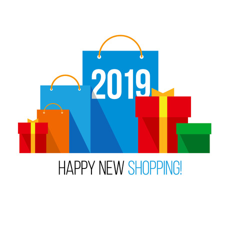 New year shopping. Set of colorful paper shopping bags with numbers 2019 and present boxes near. Isolated on white background. Flat vector clip art, celebration logo for online shops.