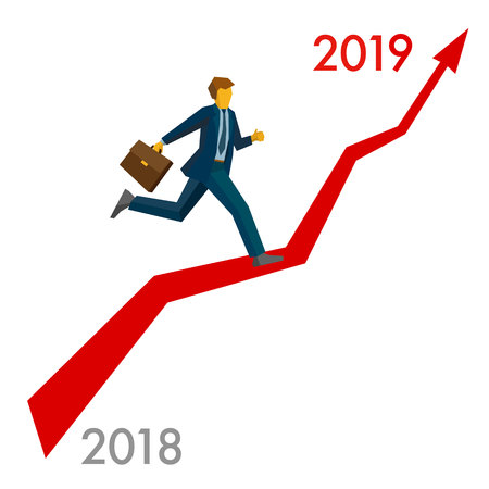 Businessman running grow up graph from 2018 to 2019 point. Career success - New year concept for greeting card, poster or annual report. Flat vector clip art, isolated on white background.