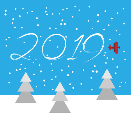 New Year concept - plane left a trace in the form of numbers 2019. Flat vector clip art. Airplane write in the sky. Template for greeting card cover.