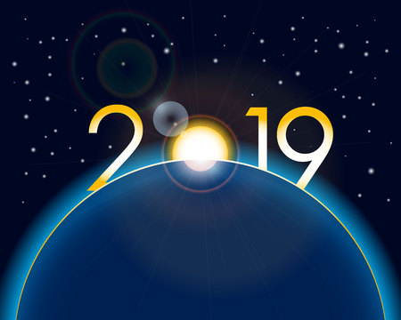 New Year 2019 concept - sunrise with digits and lens flare. Year number vector clip art - event sign. Celebration logo.