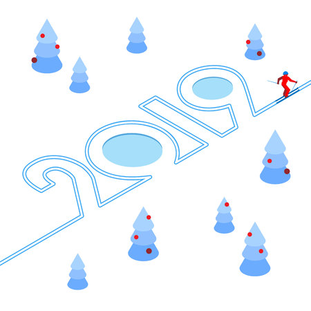 New Year 2019 concept - skier has left a trace in the form of numbers. Among decorated christmas trees. Athlete write digits on the snow - vector image clip art. Isometric on white background.