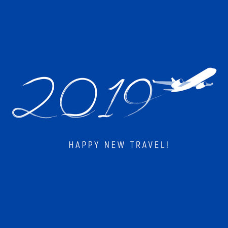 New Year 2019 concept - airplane left a trace in the form of numbers. Flat vector clip art. Greeting card or poster template - plain write digits in the sky. With place for text. Celebration logo.